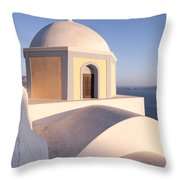 Famous Orthodox Church In Santorini Greece Throw Pillow by Matteo Colombo