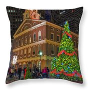 Faneuil Hall Night Throw Pillow by Joann Vitali