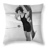 Fanny Brice And Beach Toy Throw Pillow by Underwood Archives