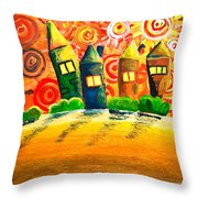 Fantasy Art - The Village Festival Throw Pillow by Nirdesha Munasinghe