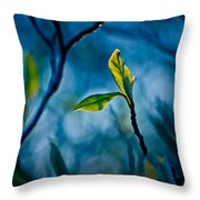 Fantasy In Blue Throw Pillow by Linda Unger