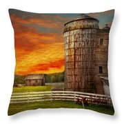 Farm - Barn - Welcome to the farm  Throw Pillow by Mike Savad