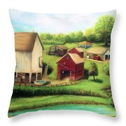 Farm Throw Pillow by Bernadette Krupa