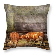 Farm - Cow - A couple of Cows Throw Pillow by Mike Savad