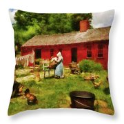 Farm - Laundry - Old School Laundry Throw Pillow by Mike Savad