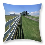 Farmhouse And Fence Throw Pillow by Frank Romeo