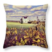 Farmhouse And Grapevines Throw Pillow by Jill Battaglia