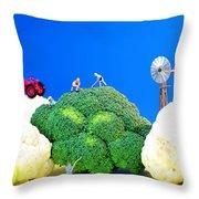 Farming On Broccoli And Cauliflower Throw Pillow by Paul Ge
