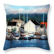 Farsund Dock Scene Painting Throw Pillow by Janet King