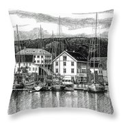 Farsund Dock Scene Pen And Ink Throw Pillow by Janet King