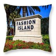 Fashion Island Sign In Newport Beach California Throw Pillow by Paul Velgos