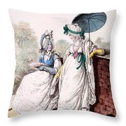 Fashion Plate Of Ladies Morning Dress Throw Pillow by English School