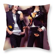 Fashionably Dressed Boy And Teenage Girl Under Falling Autumn Le Throw Pillow by Oleksiy Maksymenko
