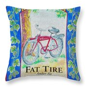 Fat Tire Throw Pillow by Cheryl Young