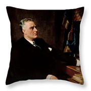 Fdr Official Portrait  Throw Pillow by War Is Hell Store