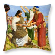Feeding the Five Thousand Throw Pillow by Clive Uptton