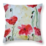 Feel The Summer 1 - Poppies Throw Pillow by Ismeta Gruenwald