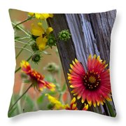 Fenceline Wildflowers Throw Pillow by Robert Frederick