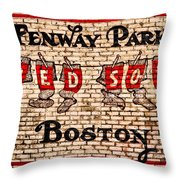 Fenway Park Boston Redsox Sign Throw Pillow by Bill Cannon