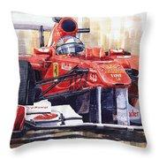 Ferrari 150 Italia Fernando Alonso F1 2011  Throw Pillow by Yuriy  Shevchuk