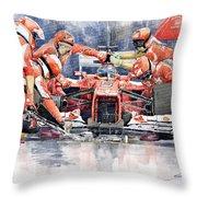 Ferrari F 2012 Fernando Alonso Pit Stop Throw Pillow by Yuriy  Shevchuk
