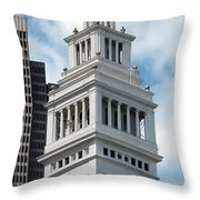 Ferry Building Clock Tower Throw Pillow by Jo Ann Snover