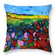 Field Flowers Throw Pillow by Pol Ledent