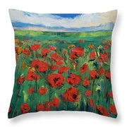 Field Of Red Poppies Throw Pillow by Michael Creese