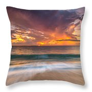 Fiery Skies Azure Waters Rendezvous Throw Pillow by Photography  By Sai
