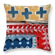 Fiesta 3- Colorful Pattern Painting Throw Pillow by Linda Woods