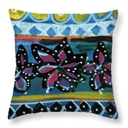 Fiesta In Blues- Abstract Pattern Painting Throw Pillow by Linda Woods