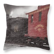 Fighting through the Winter Storm Throw Pillow by Ken Smith