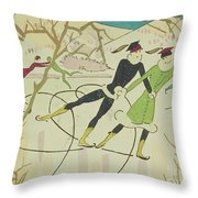 Figure Skating  Christmas Card Throw Pillow by American School