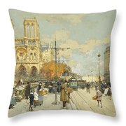 Figures On A Sunny Parisian Street Notre Dame At Left Throw Pillow by Eugene Galien-Laloue