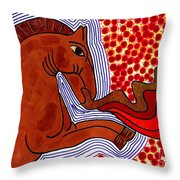Fire Breathing Horse Throw Pillow by Sarah Loft