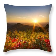 Fire on the Mountain Throw Pillow by Debra and Dave Vanderlaan