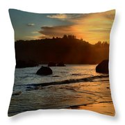 Fire Over Trinidad Beach Throw Pillow by Adam Jewell