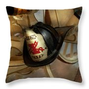 Firefighter - Somewhere To Hang Hat  Throw Pillow by Mike Savad