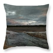 Firehole Lake Drive Sunrise - Yellowstone Np Throw Pillow by Sandra Bronstein