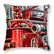 Fireman - Antique Brass Fire Hose Throw Pillow by Paul Ward