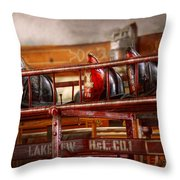 Fireman - Ladder Company 1 Throw Pillow by Mike Savad