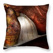 Fireman - The Fire Chief Throw Pillow by Mike Savad