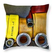 Fireman - The Fire Hose Throw Pillow by Paul Ward