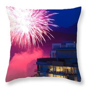 Fireworks In The City Throw Pillow by Nancy Harrison