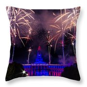 Fireworks Over Denver City And County Building Throw Pillow by Teri Virbickis