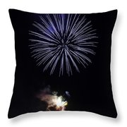 Fireworks Shell Burst Over The St Petersburg Pier Throw Pillow by Jay Droggitis