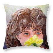 First Daffodil Throw Pillow by Carol Allen Anfinsen