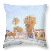 First Frost Throw Pillow by Alfred Sisley
