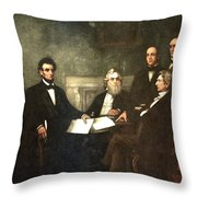 First Reading Of The Emancipation Proclamation Of President Lincoln Throw Pillow by Georgia Fowler