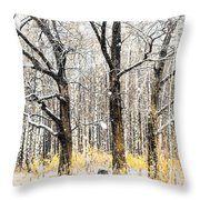 First Snow. Tree Brothers Throw Pillow by Jenny Rainbow